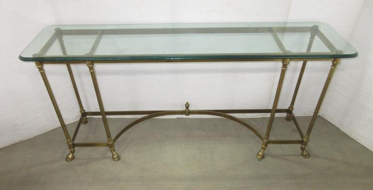 Couch Table, All Brass Bottom, Unique Feet and Glass Top