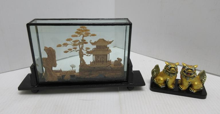 "Oriental Cork Art Diorama Display with House, Trees, Bird, and Rock Formation, 10""W x 6""H; Chinese Shanghai Hand Painted Gold Foo Dog Guardian Lions on Black Base, 4 1/2""W x 2 1/2""H"