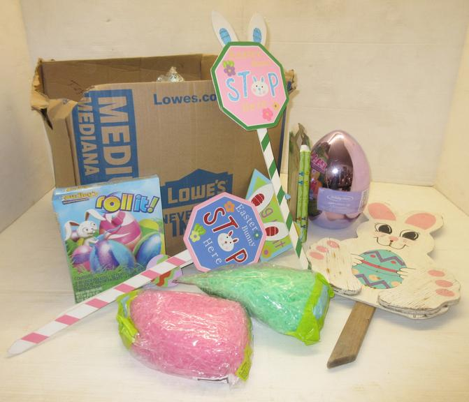 Large Eggs, Small Eggs, Bags of Easter Basket Bedding, Egg Coloring Kits, and Signs