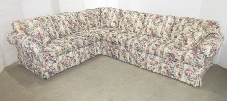 L-Shaped Two-Piece Sectional Sofa, Floral Fabric