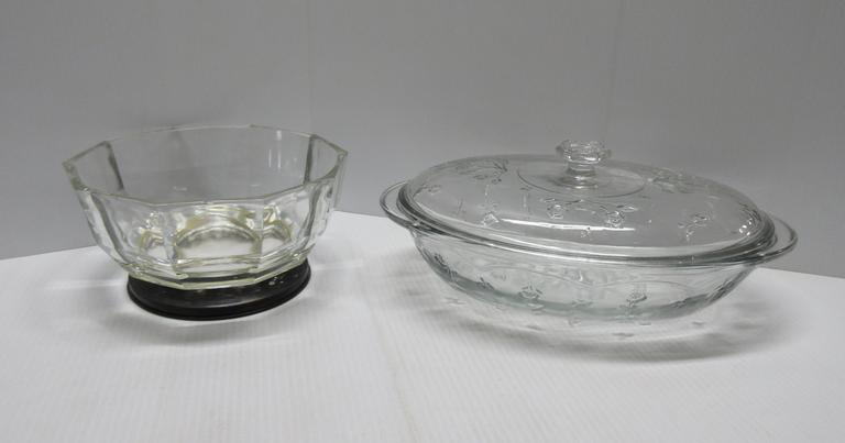"Covered Casserole Dish, 13 1/2""W; Glass Bowl"