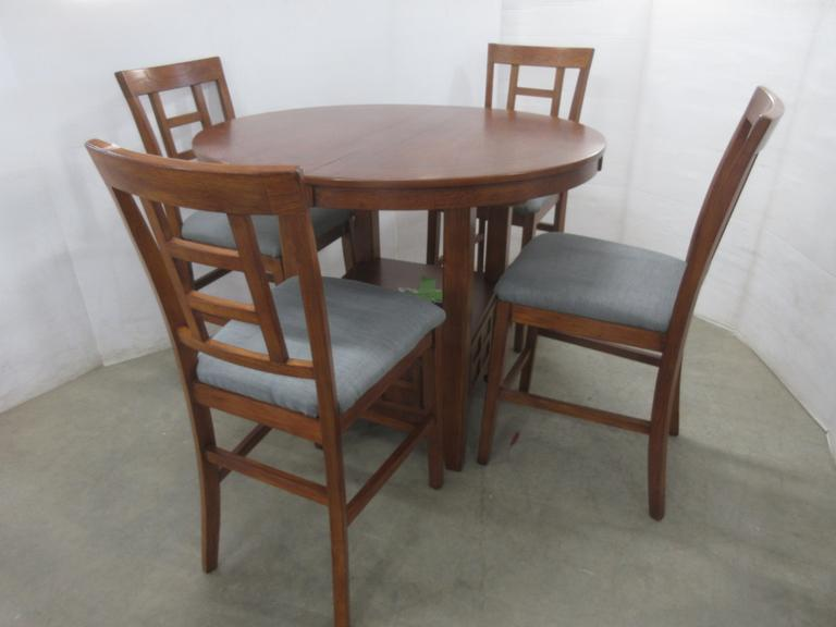 Pub Table with Decorative Bottom Shelf, and (4) Matching Chairs, Approx. Eight Years Old
