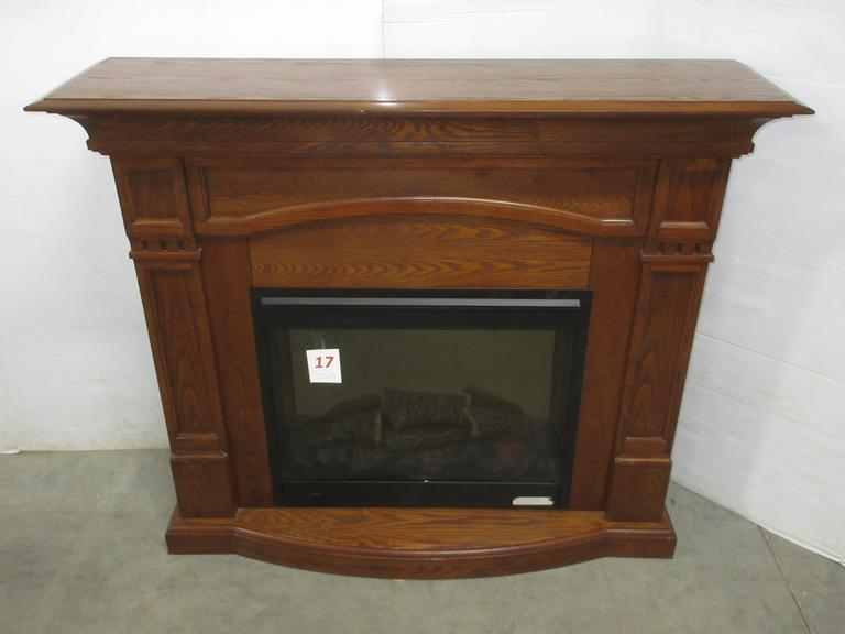 Oak Electric Fireplace with Blower, 15,000 BTU
