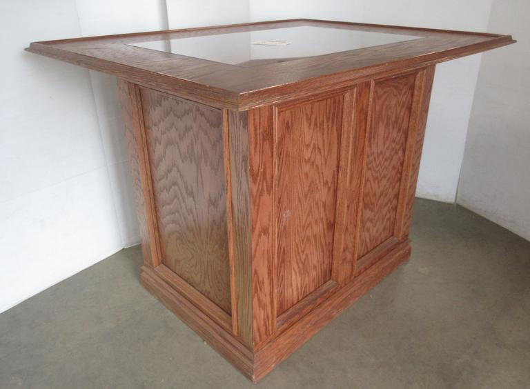 Handmade Oak Bar with Glass Insert in Top Center, Very Well Built
