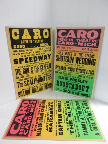 Albrecht Auctions | (3) Caro Drive-In Posters: 1- Rod Steiger, Burt