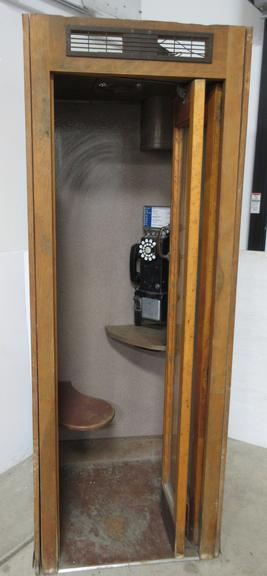 Telephone Booth, Oak, with Finished Sides, Seat, Light, and Exhaust Fan, Original Phone in Booth, Money in Phone