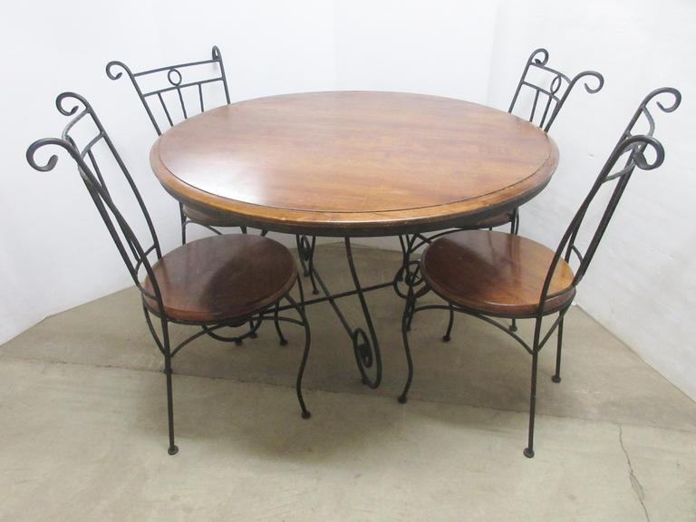 Round Table and Chair Set, Wood and Metal