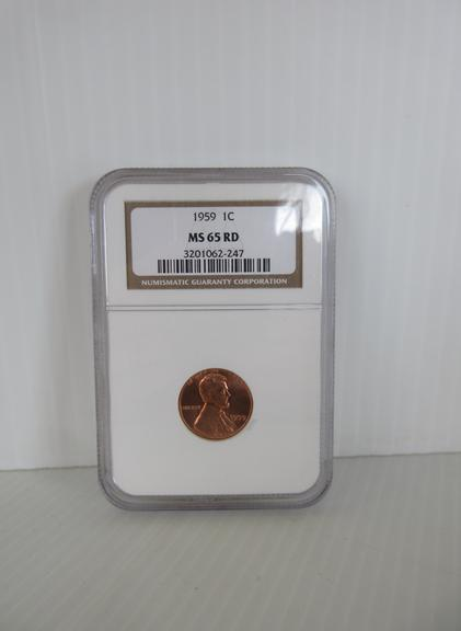 1959 Lincoln Cent, Certified MS 65 RD by NGC