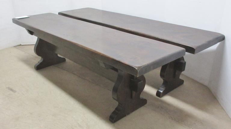 Pair of Long Solid Wood Benches