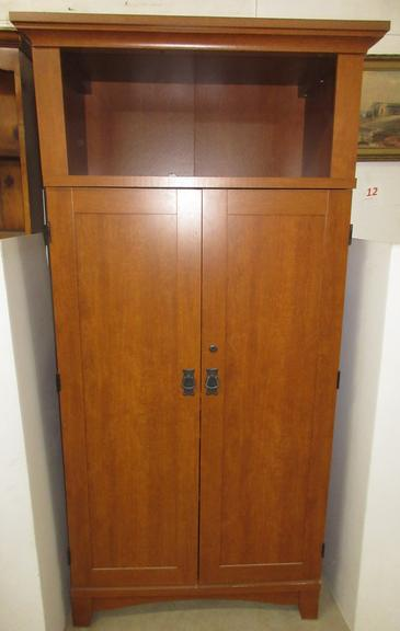 Wood Grain Sauder Computer Cabinet, Has Area for Printer and Tower, Keys in Office