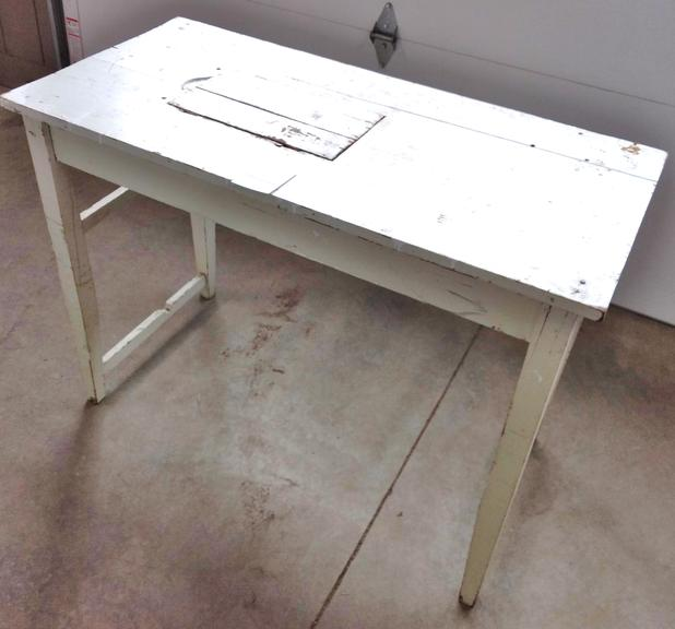 Antique Farm Table with Chippy White Paint