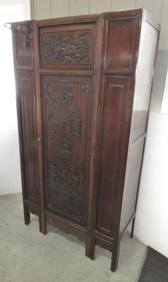Carved Door Liquor/Storage Cabinet, Exterior and Interior of Door are Carved, Top Interior is Mirrored, Ample Storage, Lockable Unit
