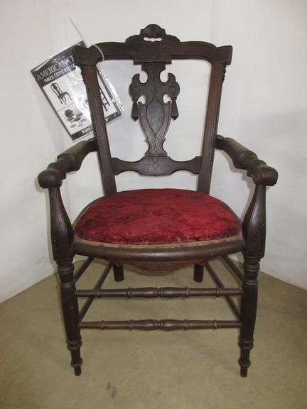 1870 Victorian Armchair, Made by Philander Derby Co., Gardner, MA, Exact Chair in Greenfield Village