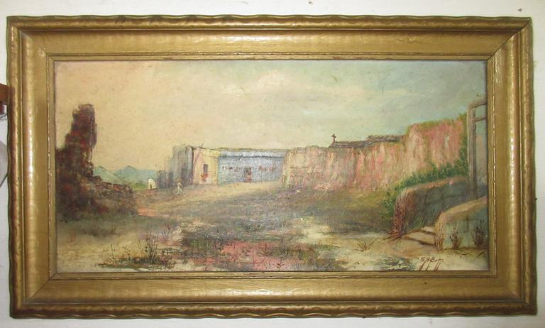 Older Oil Painting on Canvas of a Southwest Pueblo Scene in a Painted Wood Frame, Artist Signed, G.A Butts, Has a Dumouchelles Auction House Tag Attached