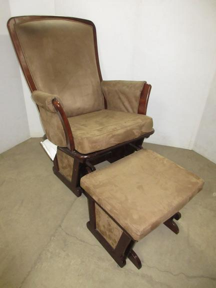 Delta Rocker/Glider with Footstool, Brown Upholstery, Cherry Wood Finish, Has Matching Gliding Footstool