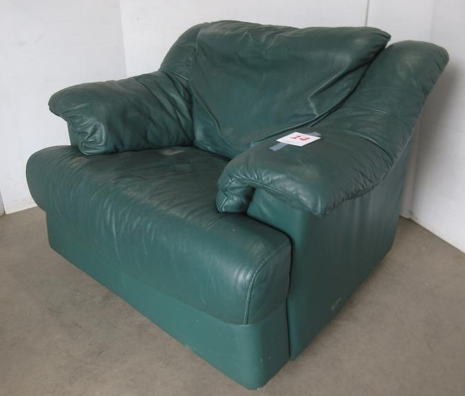 Oversized Green Leather Chair
