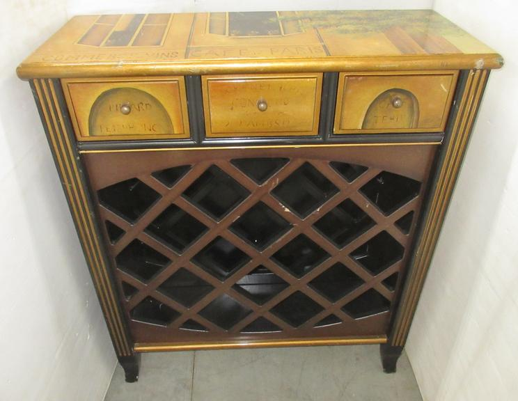 Wooden Wine Rack with Three Small Drawers on Top, Italy Look on Sides