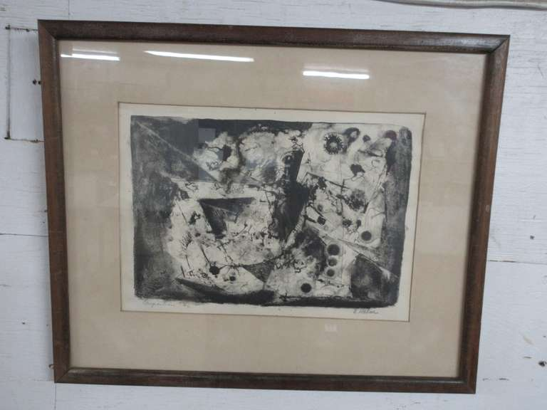 Older Mid-Century Modern Artwork, Etching Print Abstract Picture, Titled Composition No. 6 and Signed B. Holm or Halm, in Wood Frame