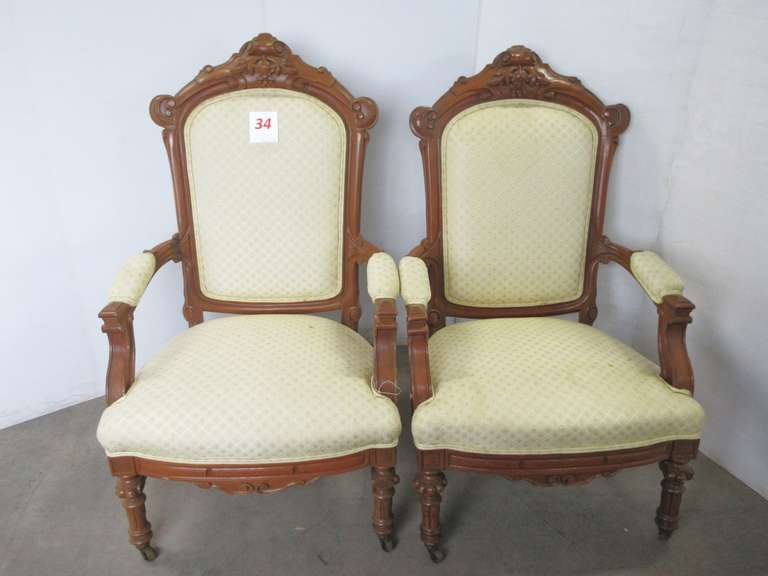 (2) Carved Wood and Upholstered Arm Chairs