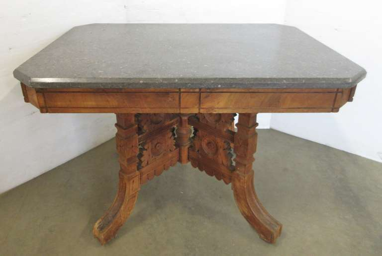 Antique Eastlake Table with Marble Top