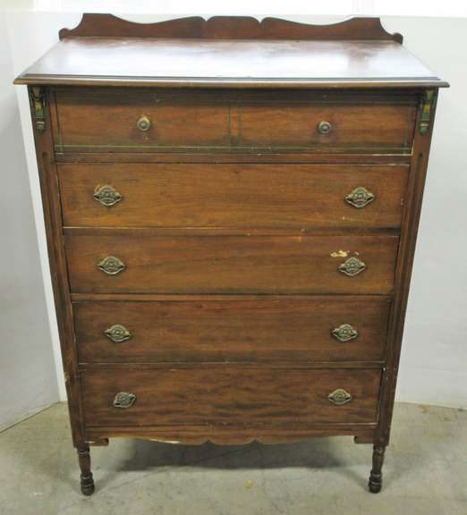 Antique Five-Drawer Dresser with Ornate Detail, Solid Wood