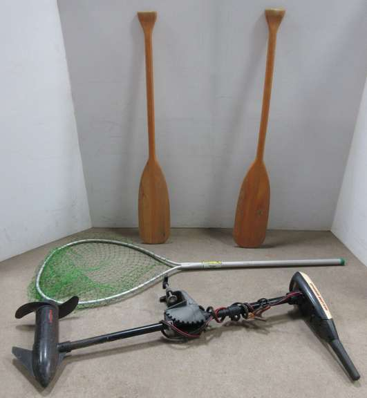 "(2) Canoe Paddles, 41 1/2"" Long, Some Surface Wear; Cuming 4 1/2' Landing Net; Minn Kota Turbo 50 Electric Trolling Motor"