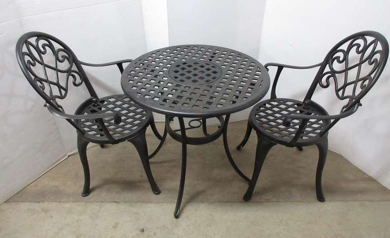 Cast Aluminum Outdoor Table and (2) Chairs