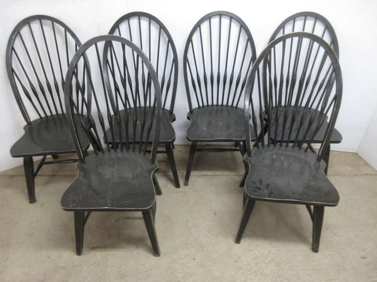 (6) Black Windsor Back Dining Chairs