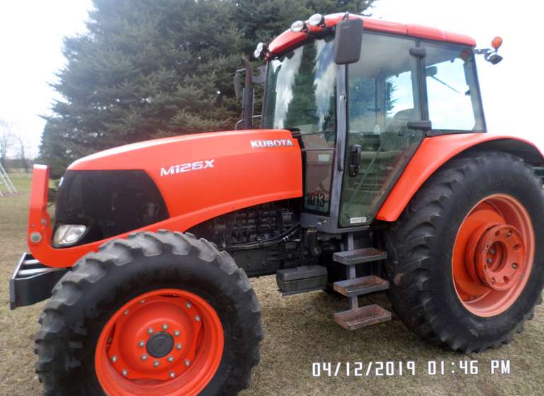 Kubota M126X (Bi-Speed Turn), (6515 Hours), Nice Unit for the Hours, New Clutch Pack, Fresh Paint on Hood/Roof/Fenders, Only Thing Not Working is the Windshield Washer (Tank Missing), Quick Hitch NOT Included