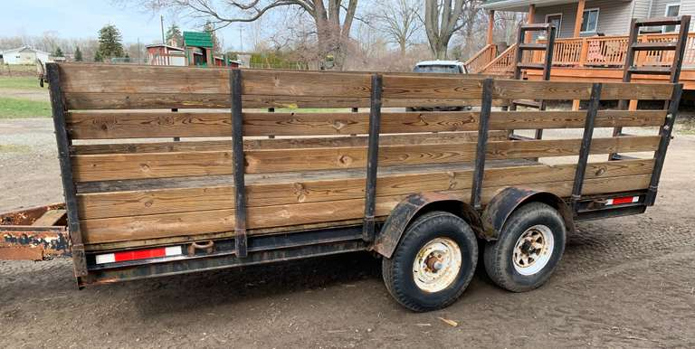 Equipment Trailer with Removable Sides to Make a Flat Deck, Comes with Registration