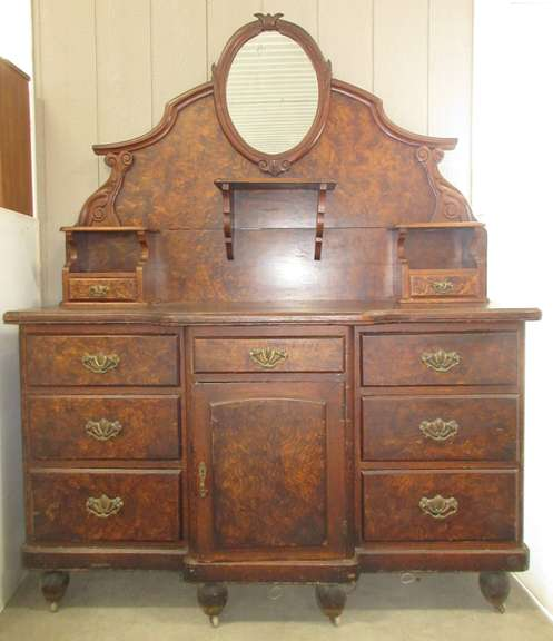 Large Antique Dresser with Mirror