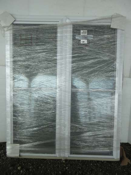 Albrecht Auctions   Silverline Combo Window of (2) Double Hung Windows Mulled Together, White ...