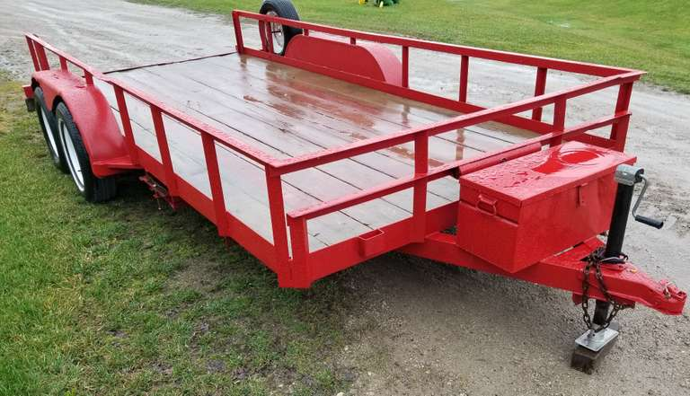 "16' Tandem Axle Utility Trailer, 7' Wide, 2"" Ball, Includes Slide in Ramps, Storage Box, New Paint, Clean and Clear Title"