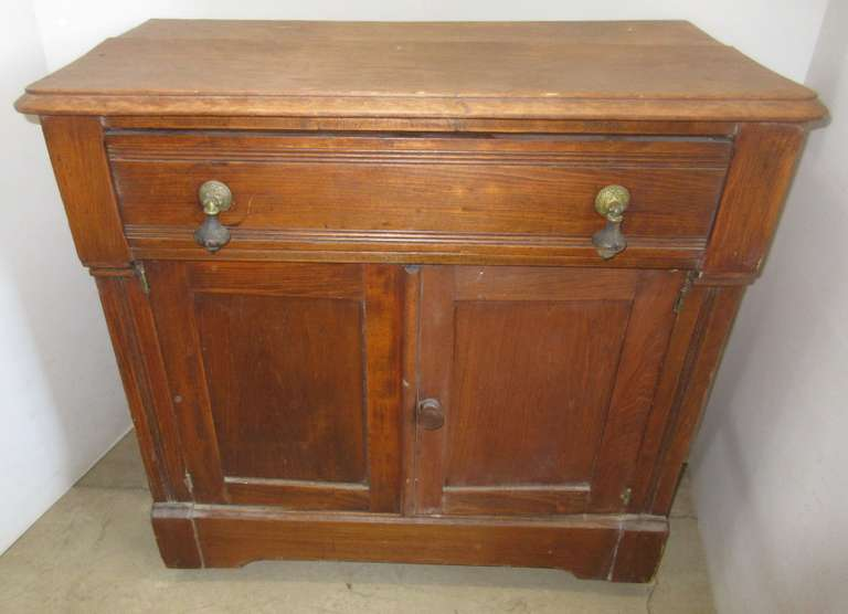 Antique Cupboard with Drawer on Wood Caster Wheels, Do Not Carry From Top