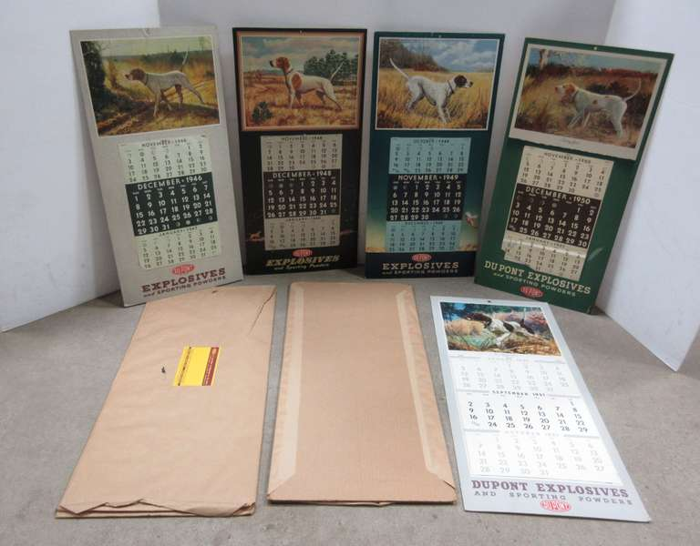 (5) DuPont Explosives and Sporting Powder Calendars with National Dog Champions on Back, Includes Years: 1946, 1947, 1948, 1949, 1950
