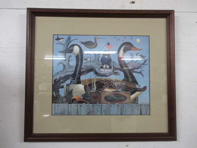Charles Wysocki Print, Hazelnut and McIntosh Tobacco Box with Duck Decoys, Framed