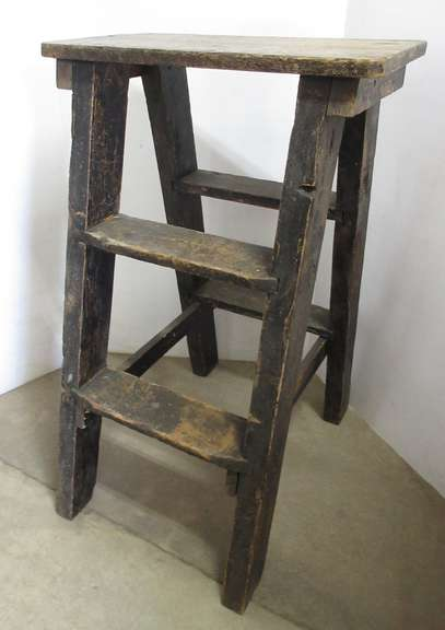 Older Primitive Wood Step Style Crock or Plant Stand