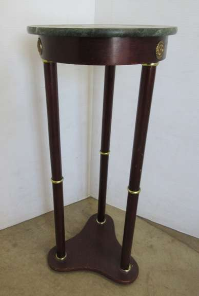 Green Marble Top Plant Stand with Brass Accents