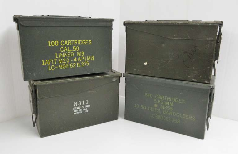 (4) 50 Caliber GI Ammo Cans, Air and Water Tight