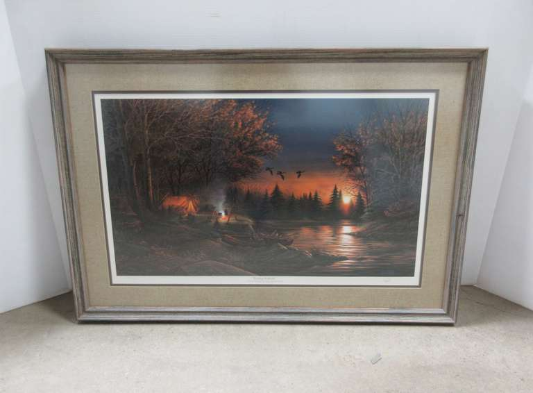 Terry Redlin Art Print, Evening Solitude, Signed and Numbered, Custom Framed and Matted