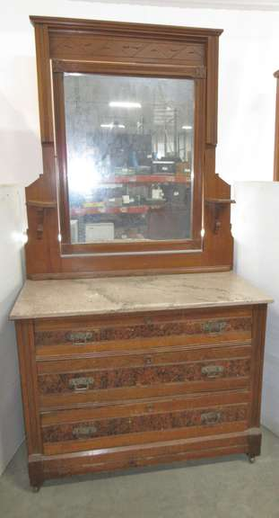 Marble Top Eastlake Dresser with Mirror, Matches Lot No. 9