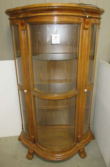 Lighted Claw Foot Curio Cabinet with Curved Glass