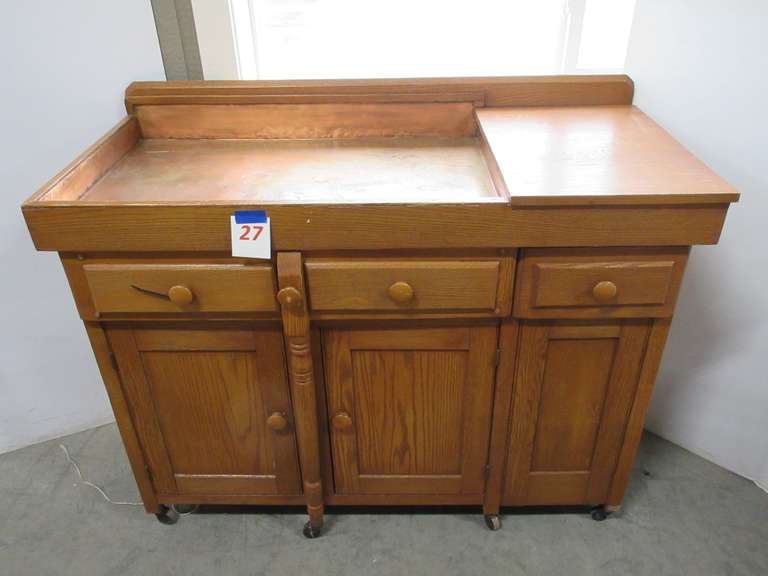 Older Oak Dry Sink, Copper Basin, Pull Out Counter with Wheels