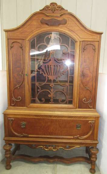 Very Old Jacobean China Cabinet with Secured Shelving and Double Plate Rails, Plexiglass in Door