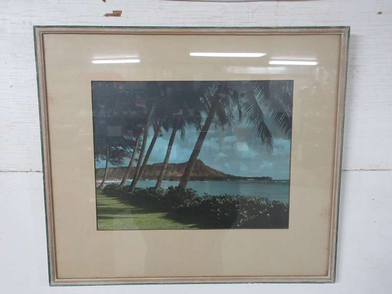 Large Framed Color Photograph of Hawaii, Dated on Back, January 17, 1946, Hudson's Picture Framing, Detroit