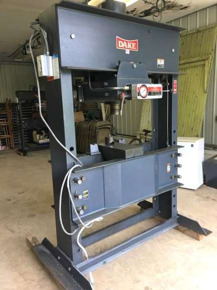 "Dake ""Elec-Draulic"" 150-Ton Electric Shop Press, 16"" Stroke, 2 HP 230/460 Volt 3-Phase, Variable Speed Ram, Adjustable Table Height, Light Use, Excellent Condition.  Albrecht Auction Will Assist in Loading this Item Upon Approved Scheduling with Seller. Item Will Only be Loaded Onto a Safe Transport Vehicle and Buyer Accepts all Responsibility for the Safe Rigging and Transport of Item."