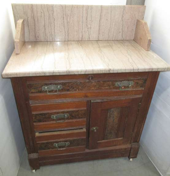 Old Marble Top Nightstand with Four Drawers