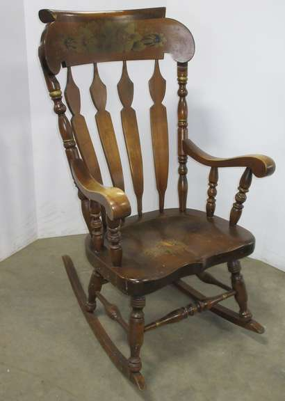 Older Wooden Rocking Chair, LZ Kamman Co., Dark Wood, Golden Flower Pattern with Trim Details