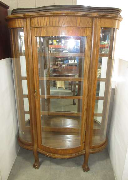 Curved Glass China Cabinet, Key in Office