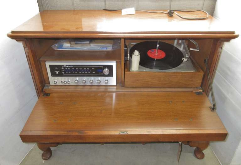 Stereo Cabinet with Magnavox Tuner and Record Player with Paperwork